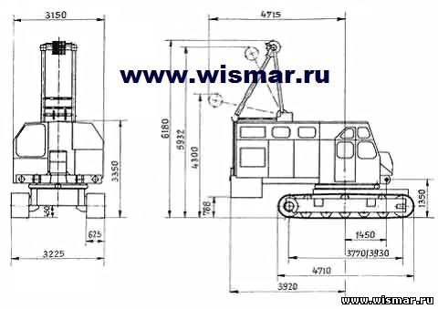Габариты крана РДК-250